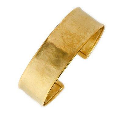 Or jaune 14 carats 19 mm texturé en forme de menotte JewelryWeb 7 cm