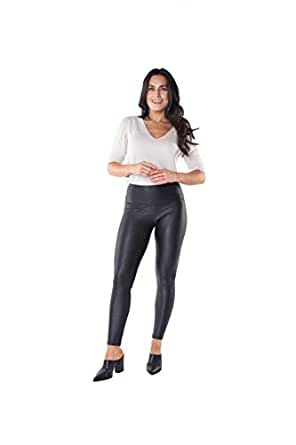 INTRO Tummy Control High Waist Pull-On Cotton Spandex Legging Black Faux Leather Size Plus 1X
