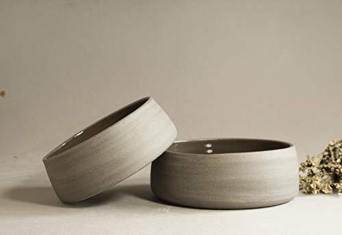 ZweiHandgemachte Katzenapf keramik personalisiert, katzenfutter,
