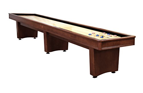 Olhausen Billiards 12-Foot x 16-inch York Shuffleboard - Heritage Mahogany Finish on Solid Maple - Includes Pucks, Abacus Scorers and Accessories