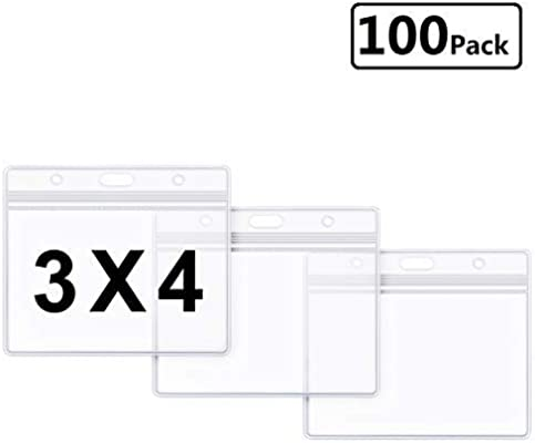 Clear Plastic Horizontal Name Tag ID Card Holder Badge Wholesale