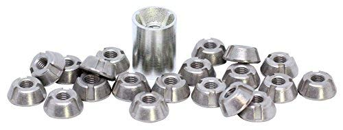 (20pcs) 6mm T-Groove Tamper Proof Security Nuts 316/A4 Stainless Steel & Installation Tool by BelMetric NTGROOVE6SET