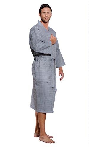 Turquaz Linen Lightweight Long Waffle Kimono Unisex Spa Robe (One Size, Gray) ()