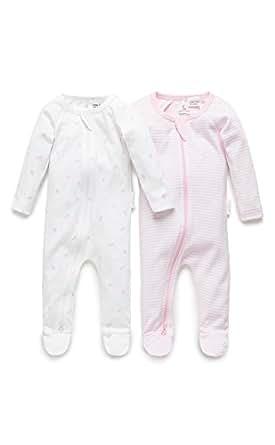 Purebaby 2 Pack Zip Growsuit, Pale Pink Pack, 3-6 M