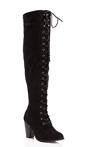 ShoBeautiful Womens Chunky Heel Over The Knee High Riding Boots Lace Up Corset Thigh High Combat Boots Winter Shoes Black 8.5