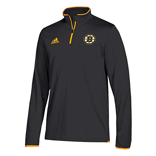 adidas Men's Boston Bruins NHL Authentic 1/4 Zip Pullover Black Size -