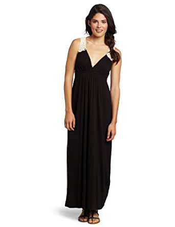 Necessary Objects Juniors Crochet Back Maxi, Black, X-Small
