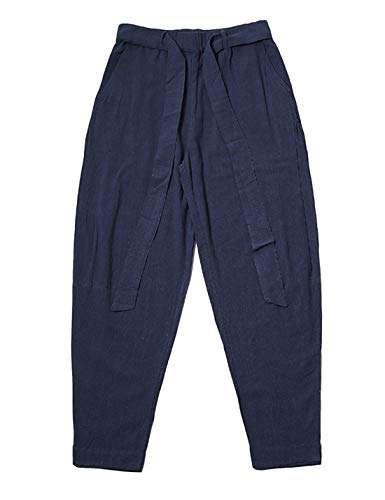 (Yeokou Men's Loose Baggy Harem Elastic Waist Tapered Cotton Linen Pants Belt(Navy)