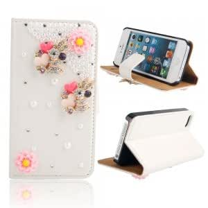 Two Rabbits Pattern Rhinestone Flip Leather Protective Case w/ Stand Holder for iPhone 5/5S