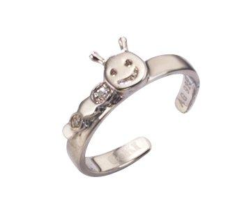 Kinderschmuck Ring Raupe mit Zirkonia aus 925 Sterlingsilber in schönem Geschenkbeutel Starck CoKi Co_37