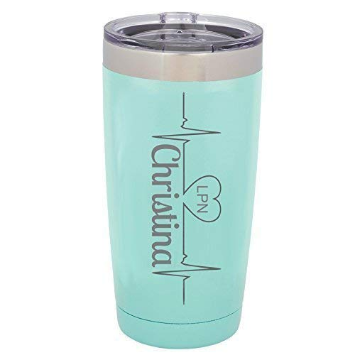 Heartbeat RN, LPN, CNA, CMA, MA Personalized Engraved Insulated Stainless Steel 20 oz Tumbler ()