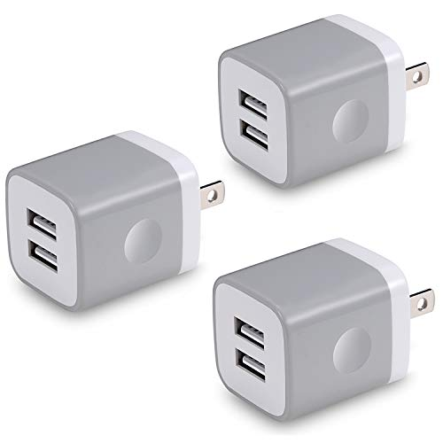 Gray Usb Power Supply - X-EDITION USB Wall Charger, 3-Pack 2.1Amp Dual Port USB Plug Power Adapter Charger Block Cube Compatible with Phone Xs/Xs Max/XR/X/8/7/6 Plus/5S/4S, Samsung, LG, Moto, Kindle, Android and More