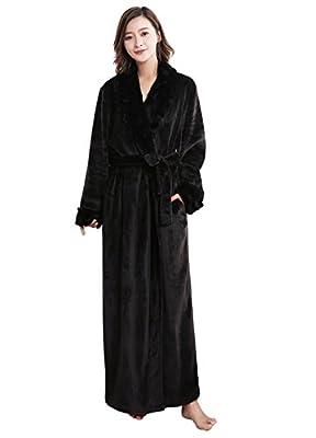 WSSM Robe Velour Chevron Texture Plush Soft Warm Fleece Long Bathrobe Robe for Women