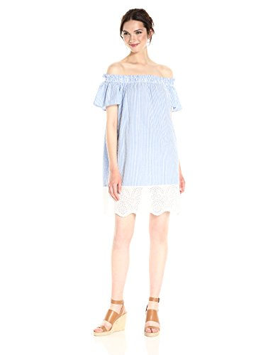 French Connection Women's Belle Stripes Mix Dress, Salt Water/Summer White, S by French Connection (Image #1)