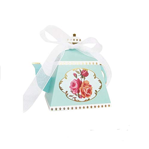 AISHOPE 50PCS Mini Teapot Wedding Favor Boxes Bonbonniere Gift Candy Box with Ribbons for Wedding, Birthday Party Decorations,Blue