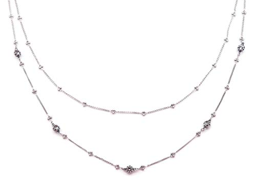 Catherine Popesco Dark Grey Swarovski Crystal Lyon Ball Double Strand Silvertone Necklace