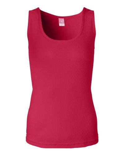 3565 LA T Ladies' 2X1 Rib Tank (Red) (XL)