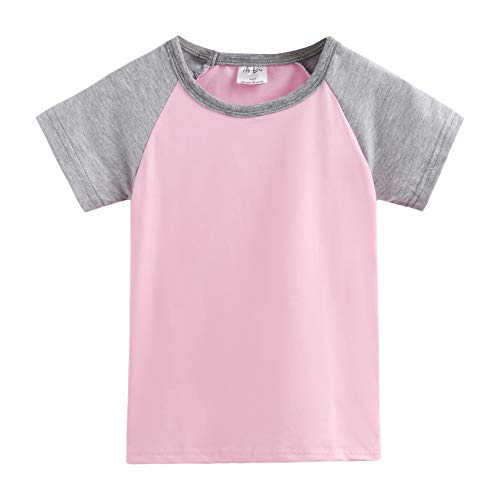 Herbow Toddler Baby Girls Boys Raglan Tees for Short Sleeve Cotton T-Shirt Baseball Jesey (PLG4) ()