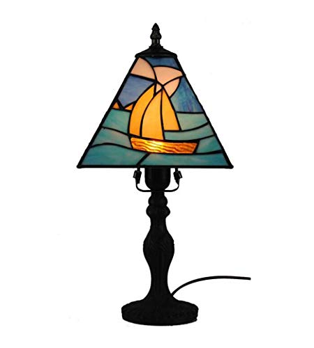 (2019 New Table Lamp, Tiffany Style 8-Inch Sailboat Design Stained Glass Desk Lamp,Handmade Art Bedroom Light Reading Lamp Work Light,E27, Max 40 W)