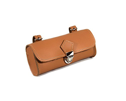 Rear Saddle Bicycle Bag OVAL Bike pannier. Cycling storage. Vintage Style. Real leather/Vero CUOIO. Color Honey. 100% MADE IN ITALY by ITALY 74