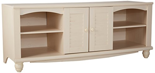 Sauder Harbor View Entertainment Credenza, Antiqued White Finish - Hutch Plus Storage