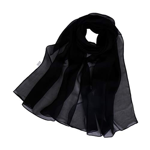 (LMVERNA Long Silk Sheer Scarf Solid Colors Lightweight Chiffon Scarves For Womens(Black))