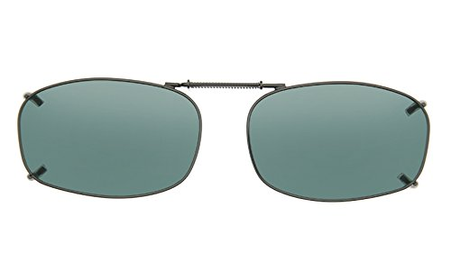 Cocoons Polarized Clip-on Rectangle 5 L4258G Rectangular Sunglasses, Gunmetal, 54 - Over Sunglasses Fit Cocoons