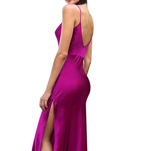 Toimothcn Women Sleeveless Backless Satin Dress Formal Long Ball Gown Dresses -