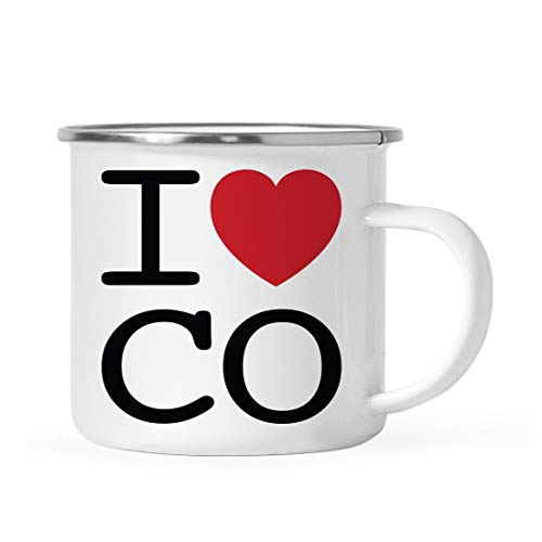 Andaz Press 11oz. Stainless Steel Campfire Coffee Mug Gag Gift, I Love Colorado, Heart Graphic, 1-Pack, Includes Gift Box, Moving Away Long Distance Hostess High School Graduation Present Ideas -