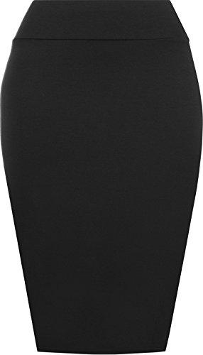 Noir Womens Jupe Jupe Jersey C 8 plus taille prettyfashion Plain 22 Bodycon crayon tube Midi Ladies 1agwZqR