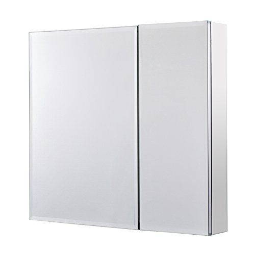 Utopia Alley Rustproof Medicine Cabinet, Glass Shelves, Mirrored Sides, Bi View, 30