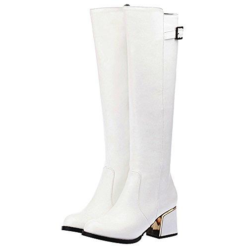 Medio Regolabile Pelle Di Pu Jamron Donna Invernali Bianco Stivali Alto Con Ginocchio Elegante Zip Tacco Cinghia Caldi Fibbia anxnXHtqF1