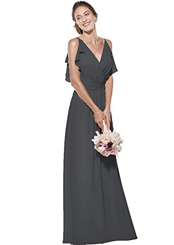 d9e2ead172 AnnaApparel Women's Double V Neck Spaghetti Straps Chiffon Bridesmaid Dress  Long Formal Evening Gown