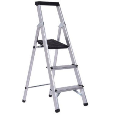 Costway Non-slip 3 Step Ladder Aluminum Folding Work Stool Platform 330Lbs Load Capacity, Ideal for Kitchen, Office, Bathroom, and Garage, Lightweight, Rubber Padded Legs for Safety