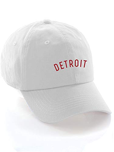 Daxton USA Cities Baseball Dad Hat Cap Cotton Unstructure Low Profile Strapback - Detroit White Red