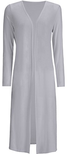 AMGLISE Women's Solid Cotton Essential Long Cascading Open Front Cardigan (XL,GREY)
