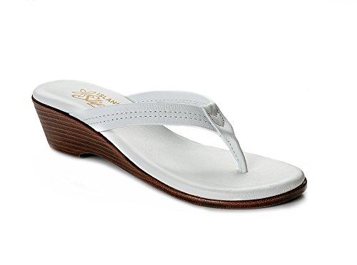 White Women's Wedge Island T922 Slipper Leather Sandal AxnY0