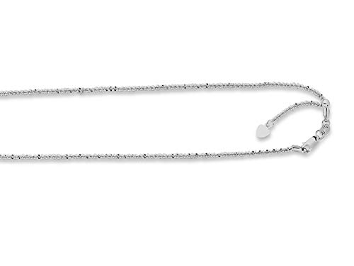 Finejewelers 14k White Gold 22 Inch Adjustable Sparkle Chain Necklace Lobster Clasp Small Heart Charm