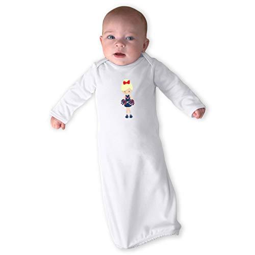 Cheerleader Two Hands Down Blonde Long Sleeve Envelope Neck Boys-Girls Cotton Newborn Sleeping Gown One Piece - White, Gown & Hat Set