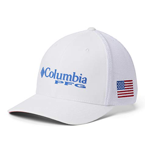 Columbia Unisex PFG Mesh Ball Cap, White, Vivid Blue, USA Flag, Large/X-Large from Columbia