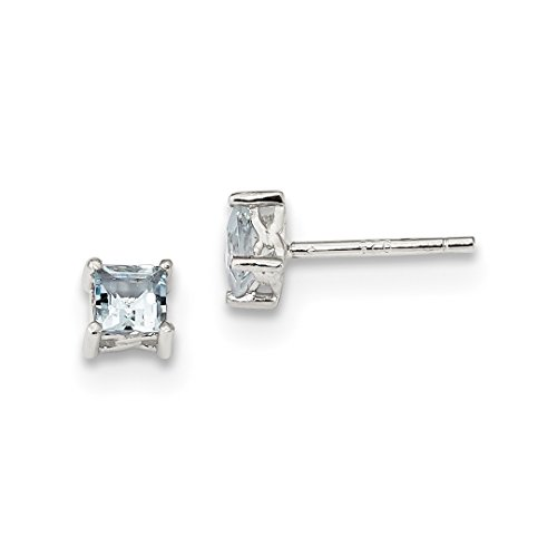 925 Sterling Silver 4mm Princess Blue Aquamarine Post Stud Earrings Birthstone March Prong Fine Jewelry For Women Gift Set -
