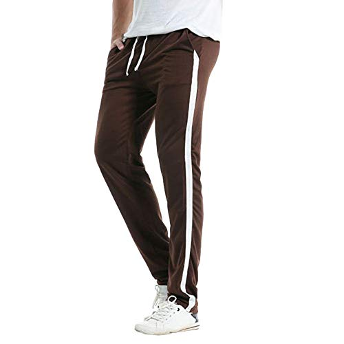 iZHH Mens Trousers Baggy Harem Casual Slim Sports Striped Long Pants Slacks(Coffee,39)