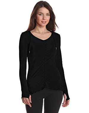 Calvin Klein Performance Women's Ruffle Back Long Sleeve Hooded Tee