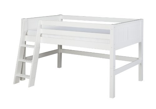 Camaflexi Low Loft Bed, Panel Headboard, White - C423-WH