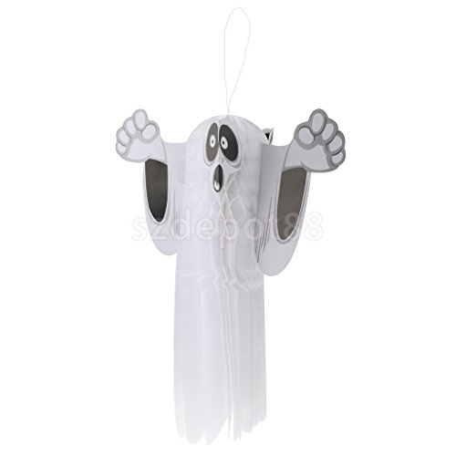 Shalleen Paper Hanging Ghost Spider Pumpkin Zombie Witch Hanger Halloween Decoration Prop (Spooky Ghost)
