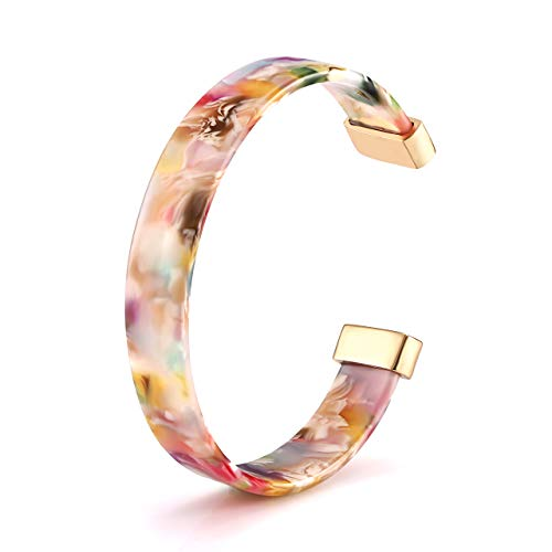 Open Cuff Bracelet Statement Acrylic Resin Lucite Cuff Bracelet Minimalist Tortoise Shell Bangles Bracelet Adjustable Lightweight Bangle (Floral)