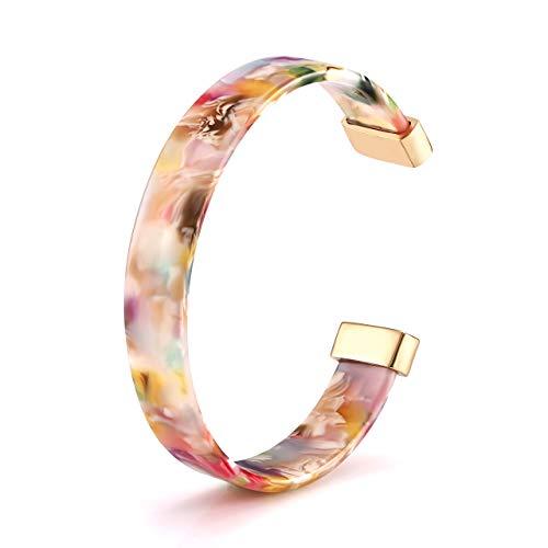 Open Cuff Bracelet Statement Acrylic Resin Lucite Cuff Bracelet Minimalist Tortoise Shell Bangles Bracelet Adjustable Lightweight Bangle ()