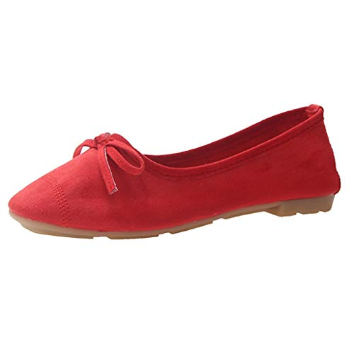 Yellsong-Shoes ,Women's Suede Bow Shallow Mouth Soft Bottom Flat Round Head Peas Shoes Egg Roll Shoes Single Shoes Red]()