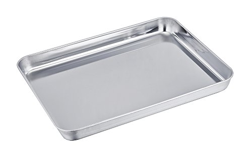 TeamFar Pure Stainless Steel Toaster Oven Pan Tray Ovenware, Big Size 12'' x 10'' x 1'', Rust Resistant & Healthy, Mirror Finish & Deep Edge, Easy Clean & Dishwasher (Matfer Stainless Steel Fry Pan)