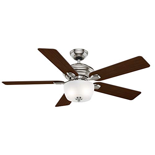 Casablanca 54042 Utopian Gallery 52-Inch 5-Blade Single Light Ceiling Fan, Brushed Nickel with Walnut/Burnt Walnut Blades and Cased White Glass Bowl - Light Casablanca